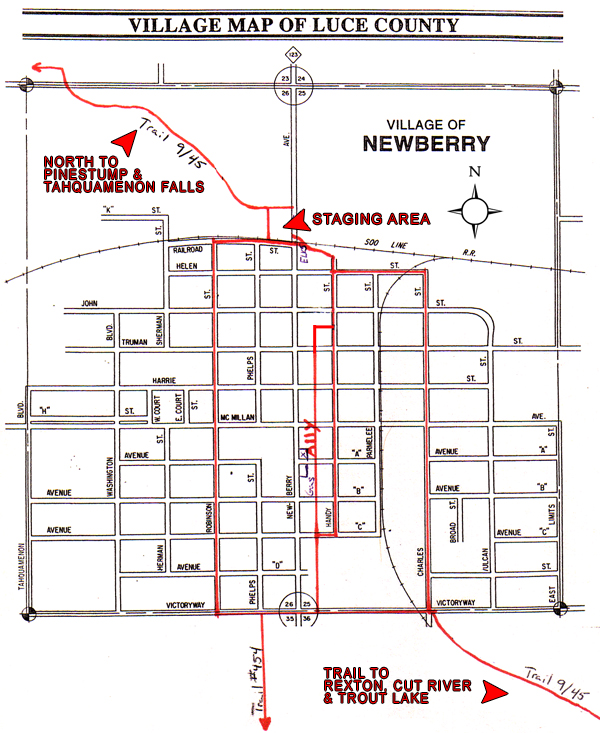 Newberry, MI Snowmobile Trail Map